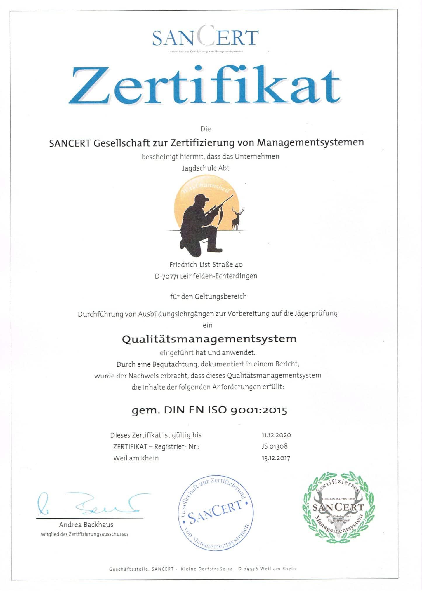 Zertifikat Jagdschule Abt